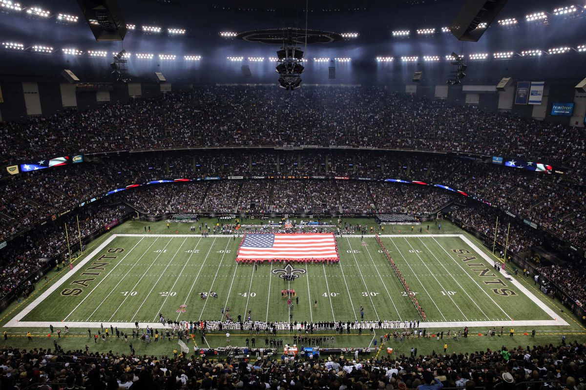 A general view of the Mercedes-Benz Superdome prior to the game between the New Orleans Saints and the Dallas Cowboys.