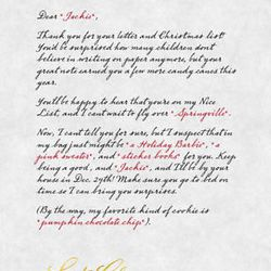 """A sample red letter from """"Santa's Red Letter,"""" a service that provides personalized letters from Santa. Red letters inform children that they are on the good list and give hints as to what the children can expect Christmas morning."""