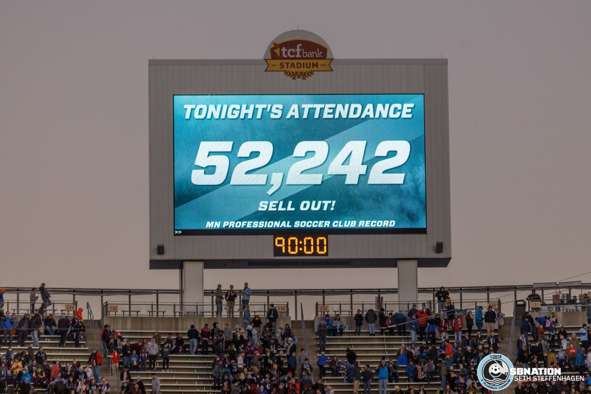 October 21, 2018 - Minneapolis, Minnesota, United States - Minnesota United set a new record of an announced attendance of 52,242 for a soccer club in Minnesota against the LA Galaxy at TCF Bank Stadium.