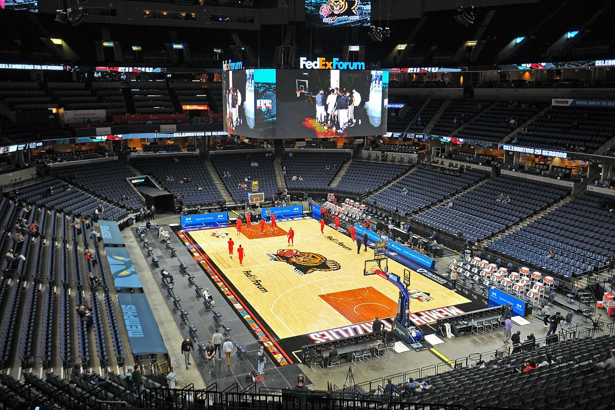 A general view of the FedExForum during the game between the Memphis Grizzlies and the Houston Rockets at FedExForum on February 04, 2021 in Memphis, Tennessee.