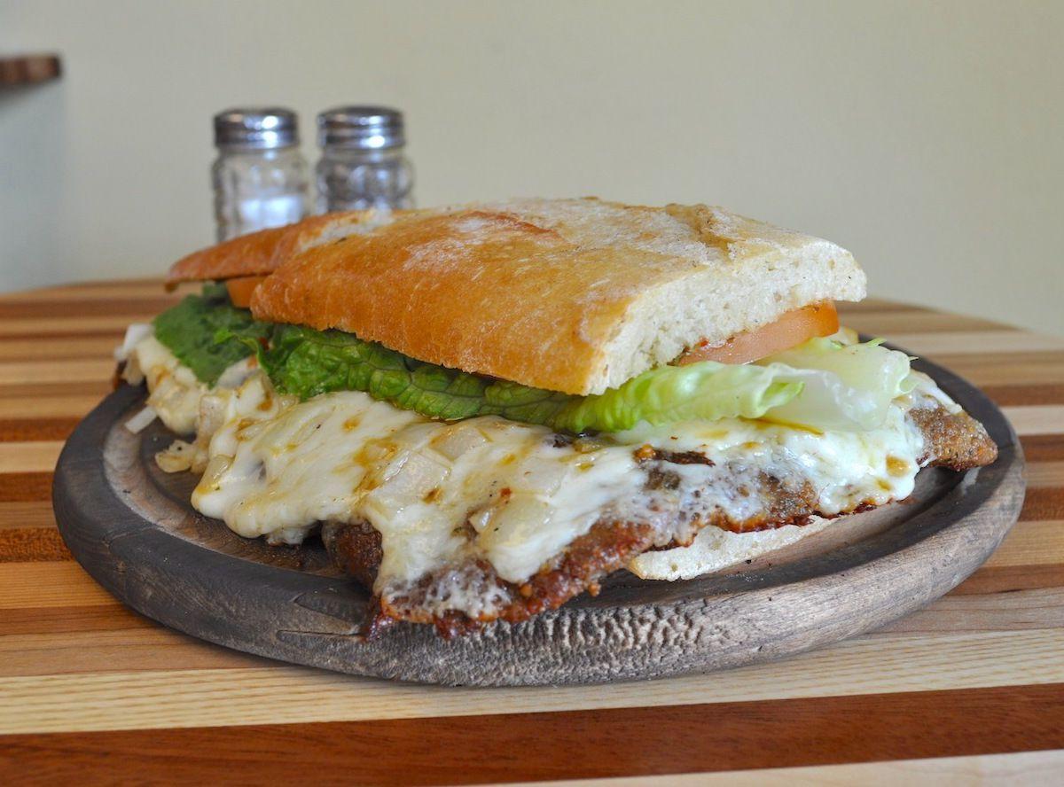 Argentine sandwich with steak, ham, and cheese