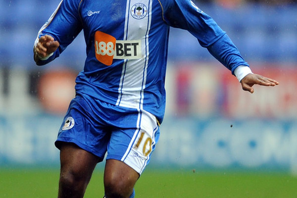WIGAN, ENGLAND -  (FILE) Charles N'Zogbia now of Aston Villa proves he's no one-trick pony when it comes to reaction shots.
