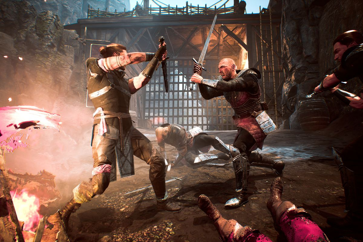 two prisoners, each dressed in chain armor, in the middle of a sword battle in the Gothic Playable Teaser