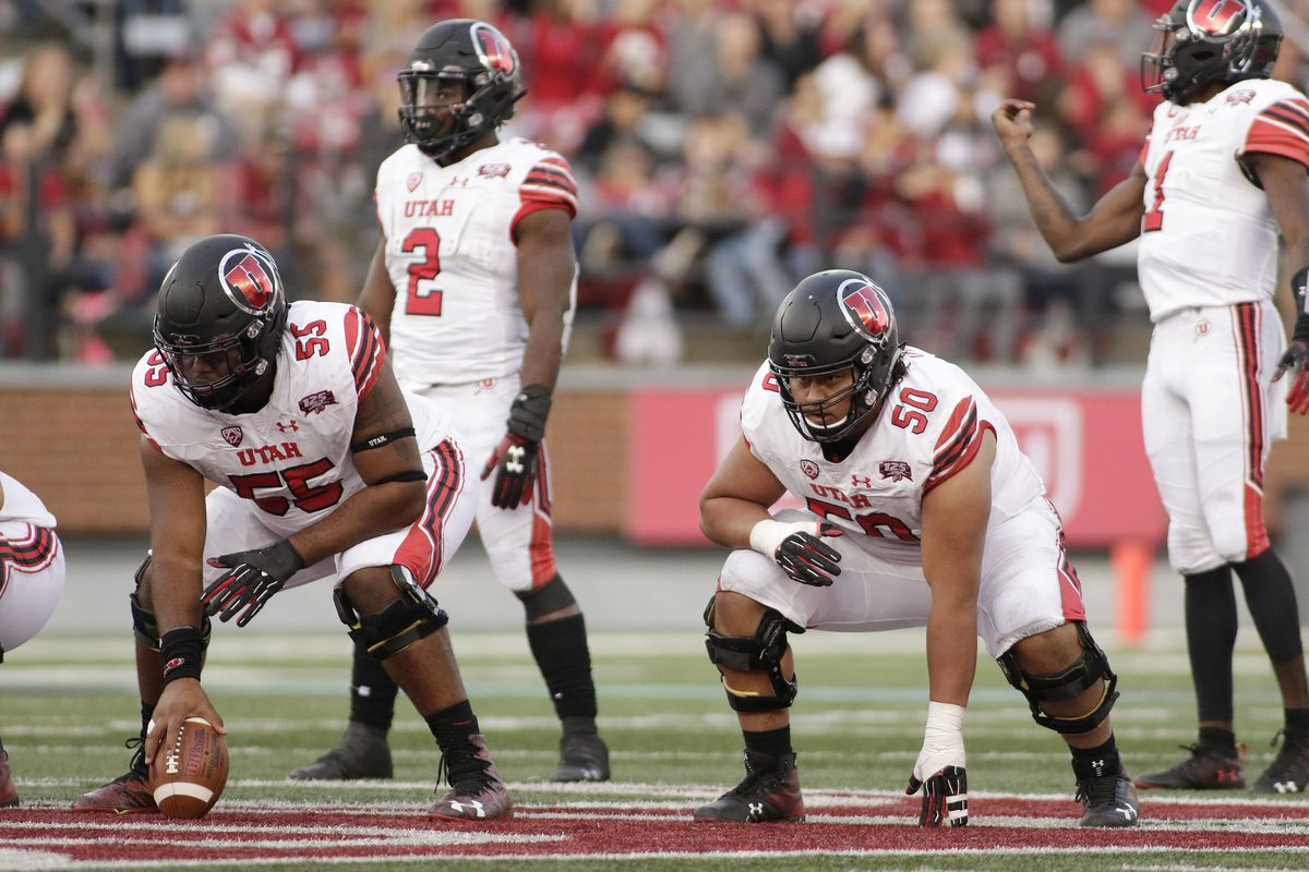 Utah center Nick Ford, left, and offensive lineman Orlando Umana line up during game against Washington State in Pullman, Wash., Saturday, Sept. 29, 2018.
