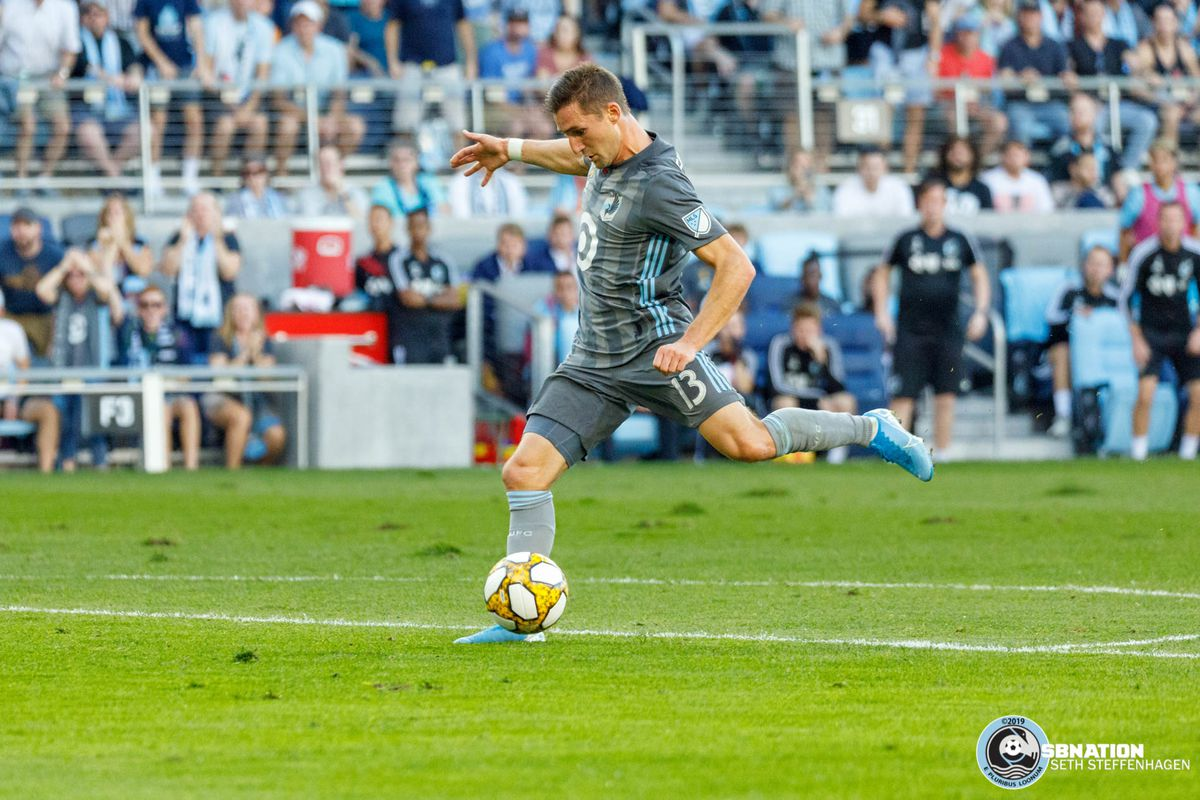 September 15, 2019 - Saint Paul, Minnesota, United States - Minnesota United midfielder Ethan Finlay (13) scores a goal in the 83' during the match against Real Salt Lake at Allianz Field.