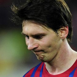 FC Barcelona's Lionel Messi, from Argentina, reacts at the end of the match against Chelsea in a semifinal second leg Champions League soccer match at the Camp Nou stadium in Barcelona, Spain, Tuesday, April 24, 2012.  Chelsea drew 2-2 with Barcelona to win the match 3-2 on aggregate.