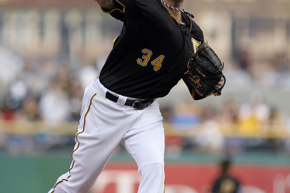PITTSBURGH, PA:  A.J. Burnett #34 of the Pittsburgh Pirates pitches against the Chicago Cubs during the game at PNC Park in Pittsburgh, Pennsylvania.  (Photo by Justin K. Aller/Getty Images)