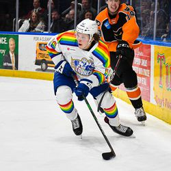 Syracuse Crunch Otto Somppi (16) with the puck against the Lehigh Valley Phantoms in American Hockey League (AHL) action at the Upstate Medical University Arena in Syracuse, New York on Saturday, February 22, 2020. Syracuse won 2-1.