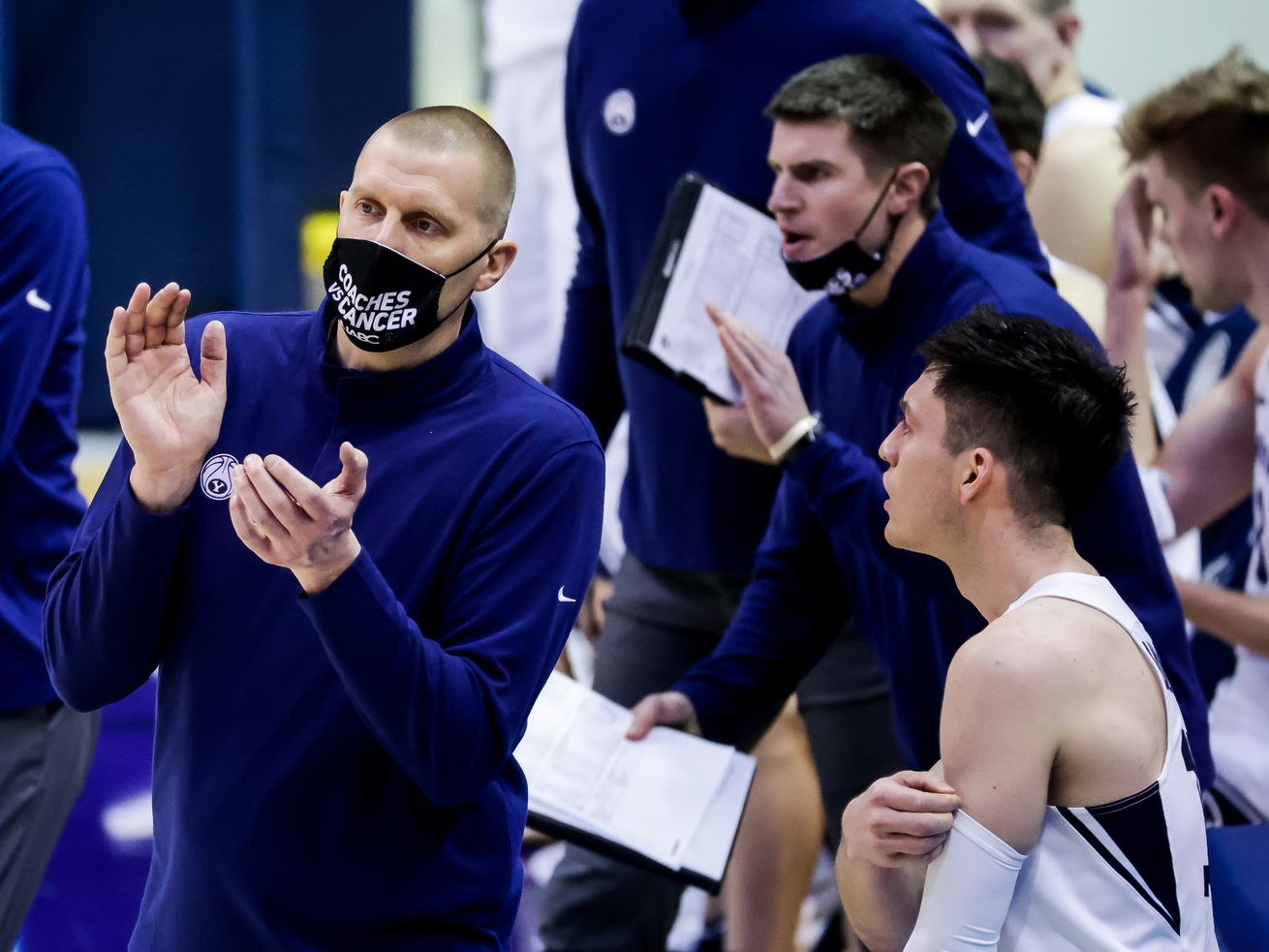 Brigham Young Cougars head coach Mark Pope works the sideline during the game against the Pacific Tigers at the Marriott Center in Provo on Saturday, Jan. 30, 2021.