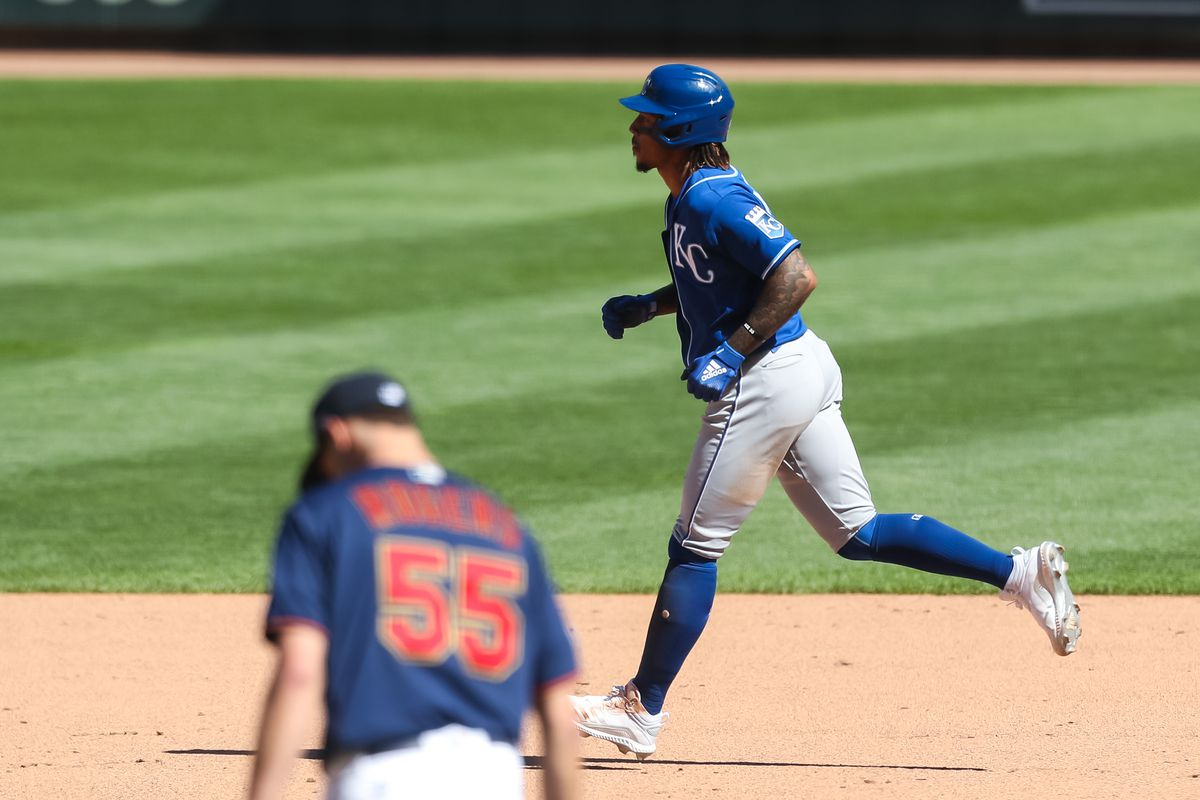 Adalberto Mondesi #27 of the Kansas City Royals rounds the bases after hitting a two-run home run against Taylor Rogers #55 of the Minnesota Twins in the ninth inning of the game at Target Field on May 29, 2021 in Minneapolis, Minnesota. The Twins defeated the Royals 6-5.
