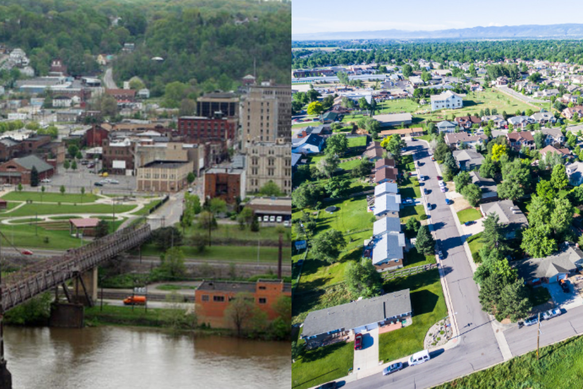 Aerial images of two communities, one an older steel mill town, the other a suburban development.
