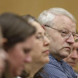 Chuck Cox, the father of missing Utah mom Susan Powell, sits with other family members during the closing arguments in the voyeurism trial of Susan Powell\'s father-in-law, Steve Powell, Tuesday, May 15, 2012, in Tacoma, Wash.