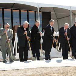 Church leaders, elected officials and other special guests participate in the official groundbreaking ceremony of the Pocatello Idaho Temple of The Church of Jesus Christ of Latter-day Saints, Saturday, March 16, 2019. The public open house begins on Saturday, Sept. 18.