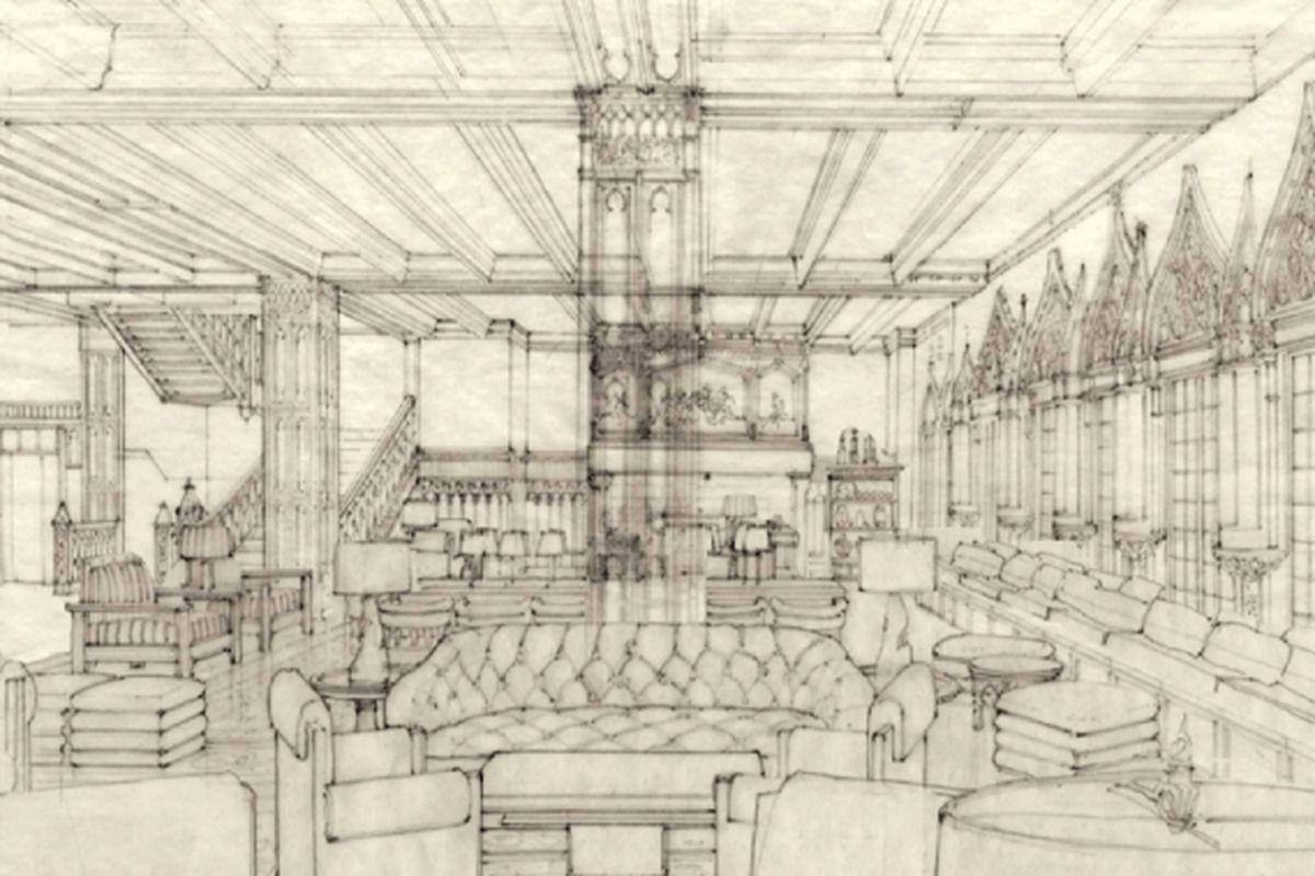 Chicago Athletic Association Hotel Lobby Sketch