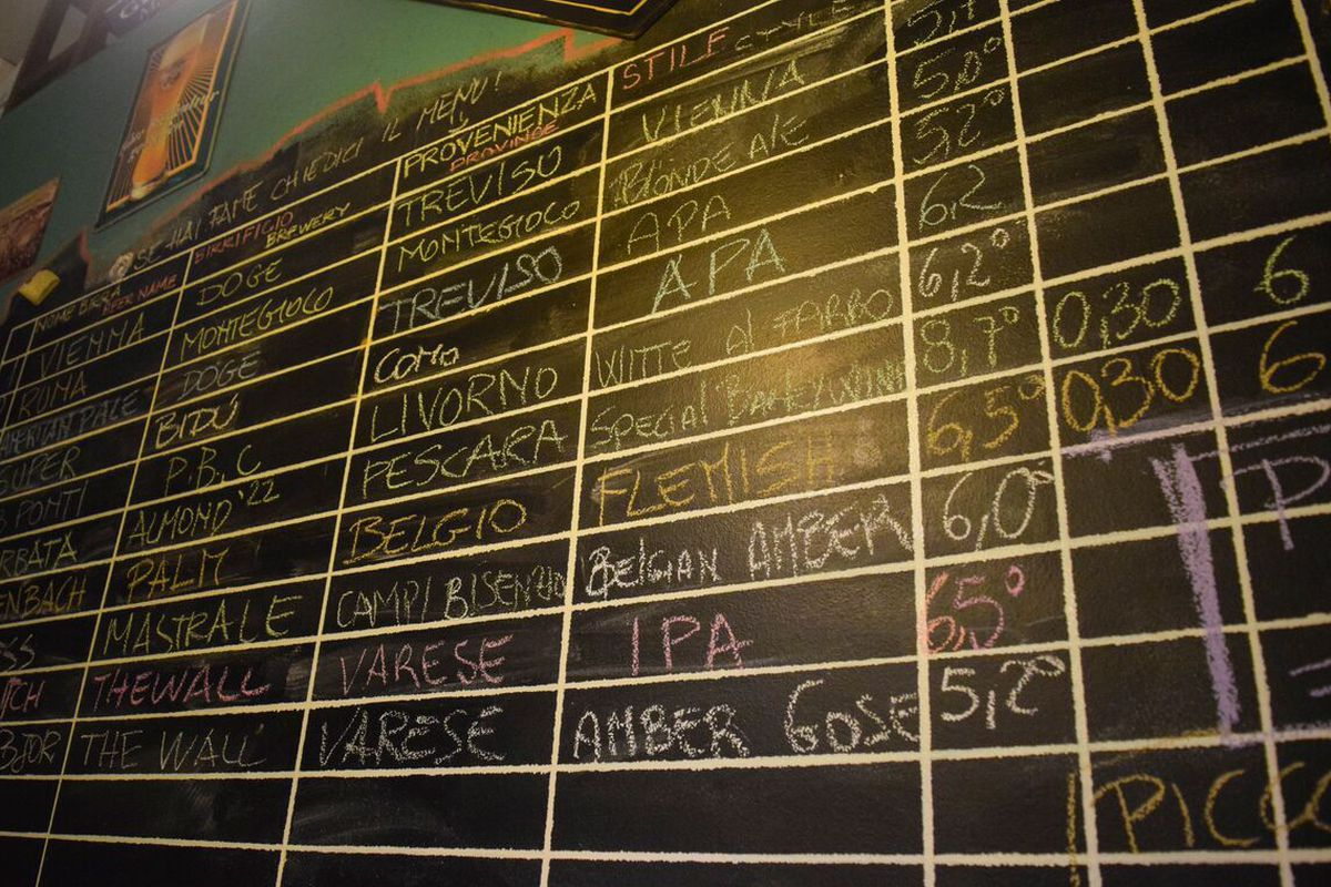 A beer board at Beer House Club in Florence, Italy.