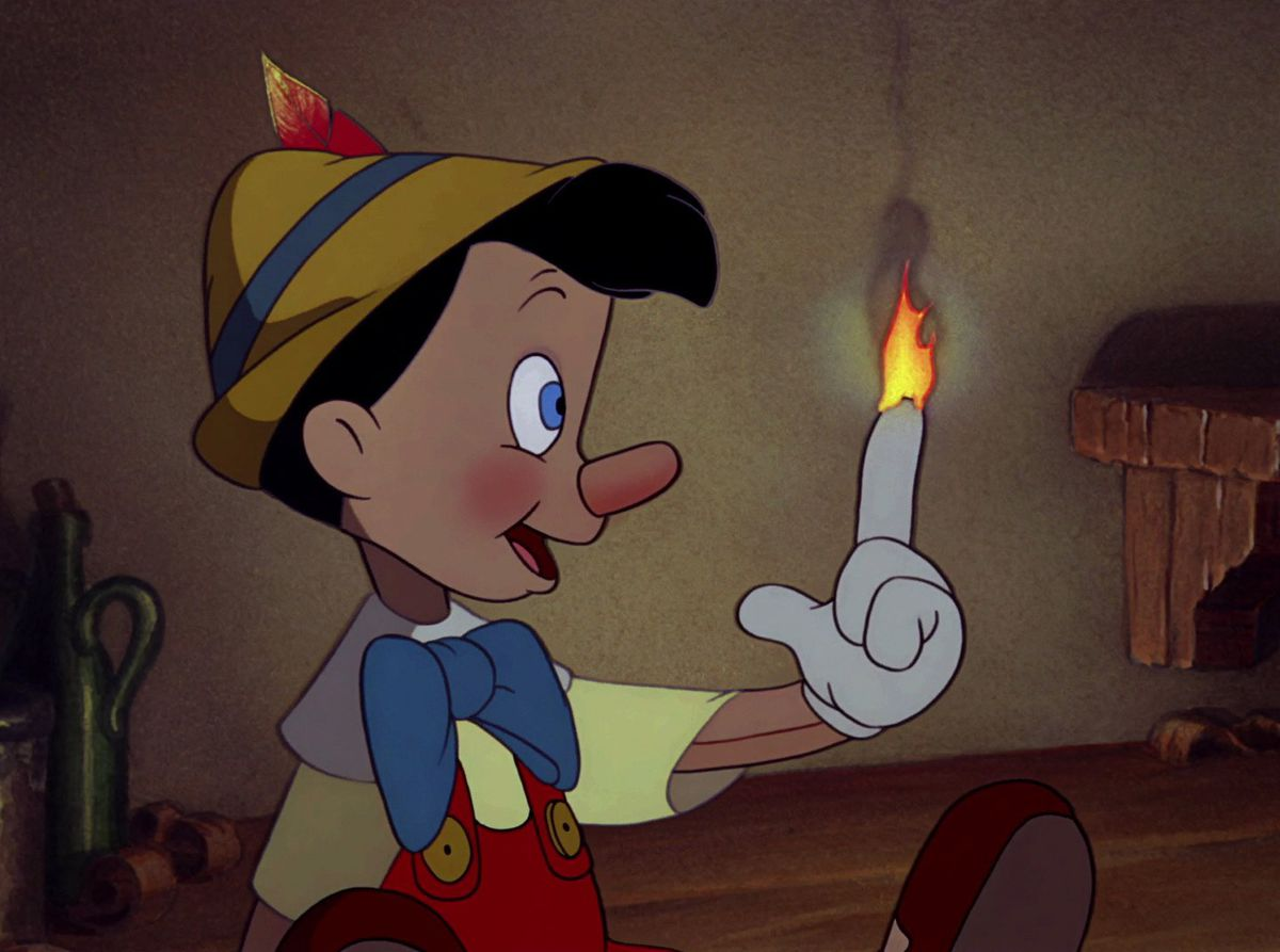 Celebrity Fitness: Pinocchio casually looking at his flaming finger