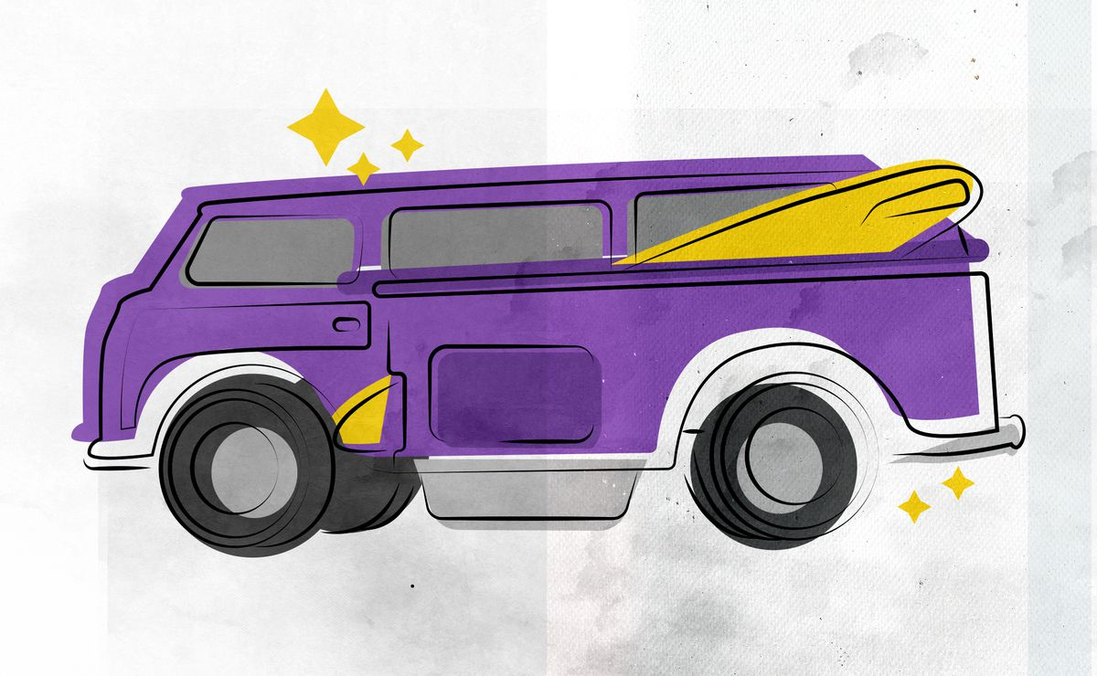 Rough watercolor illustration of a purple Volkswagen van with a yellow surfboard tucked into a compartment on the side. There are yellow sparkles around the van.