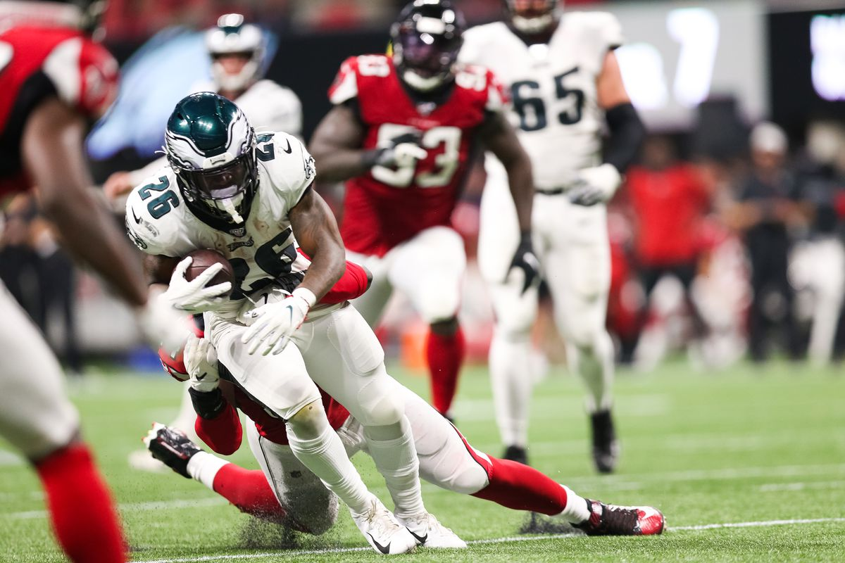 Miles Sanders of the Philadelphia Eagles rushes during the second half of a game against the Atlanta Falcons at Mercedes-Benz Stadium on September 15, 2019 in Atlanta, Georgia.
