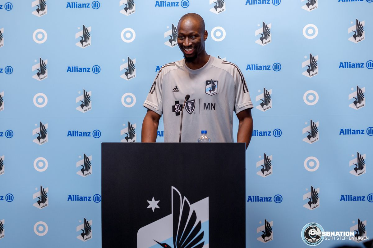March 10, 2020 - Saint Paul, Minnesota, United States - Minnesota United defender Ike Opara (3) answers questions for the media after the Loon's first team practice at Allianz Field.