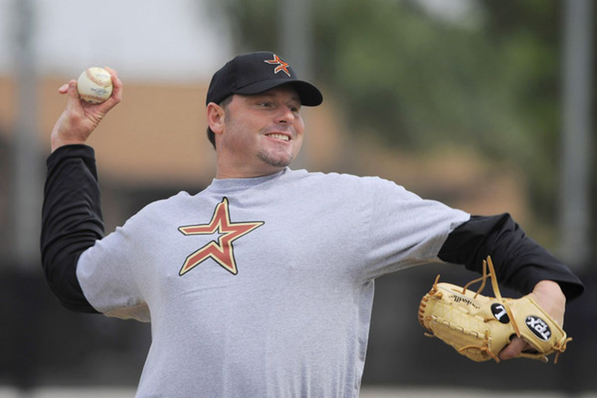 KISSIMMEE FL - FEBRUARY 27: (FILE PHOTO)   Roger Clemens throws during minor league batting practice at Houston Spring Training at Osceola County Stadium on February 27 2008 in Kissimmee, Florida. (Photo by Scott A. Miller/Getty Images)