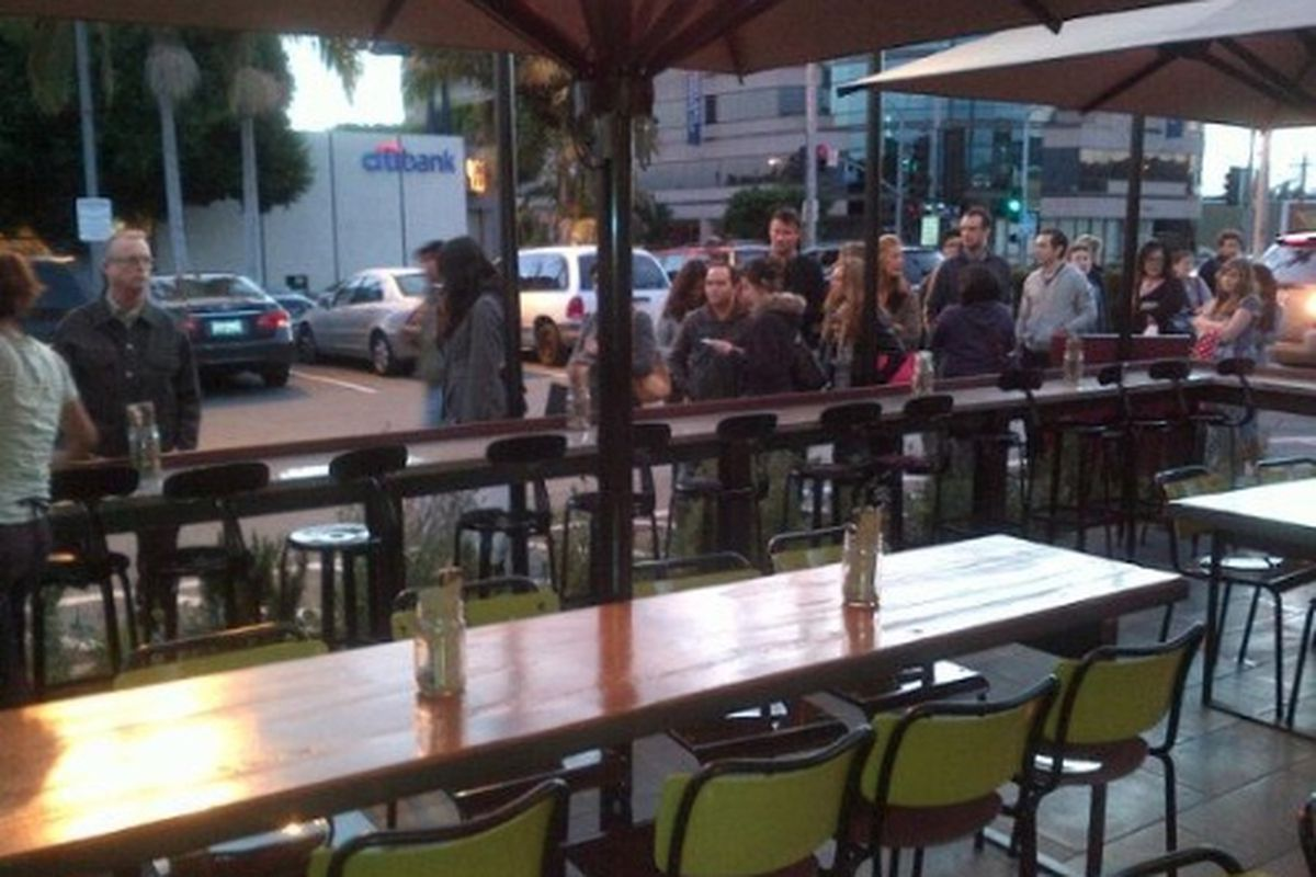 Pre-opening weekend line outside Short Order, Mid-City.