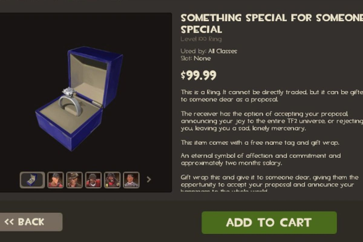 Team Fortress 2 $100 wedding ring