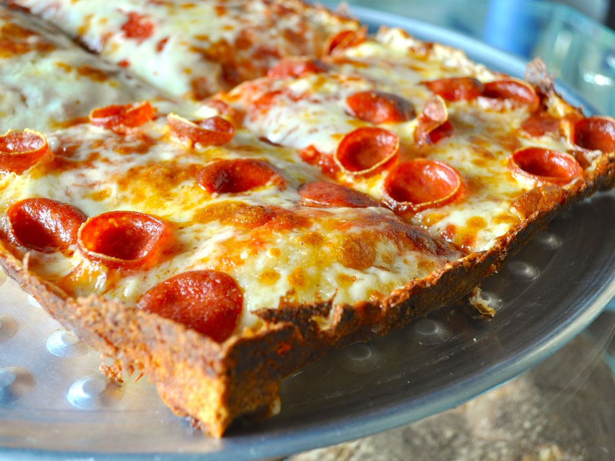 Detroit-style pan pizza with pepperoni