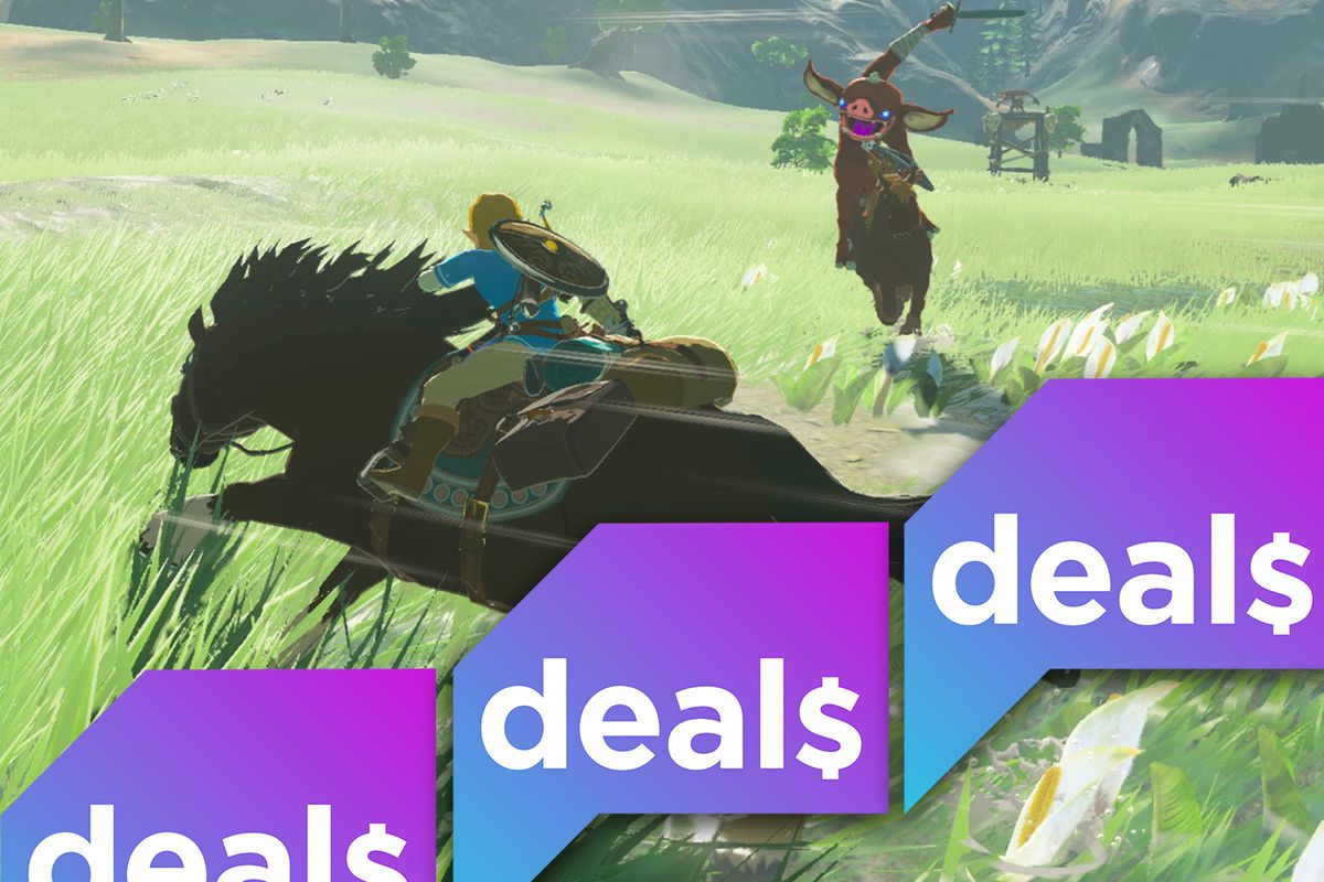 A screenshot of Link riding a horse in a screenshot from The Legend of Zelda: Breath of the Wild overlaid with a Polygon Deals logo
