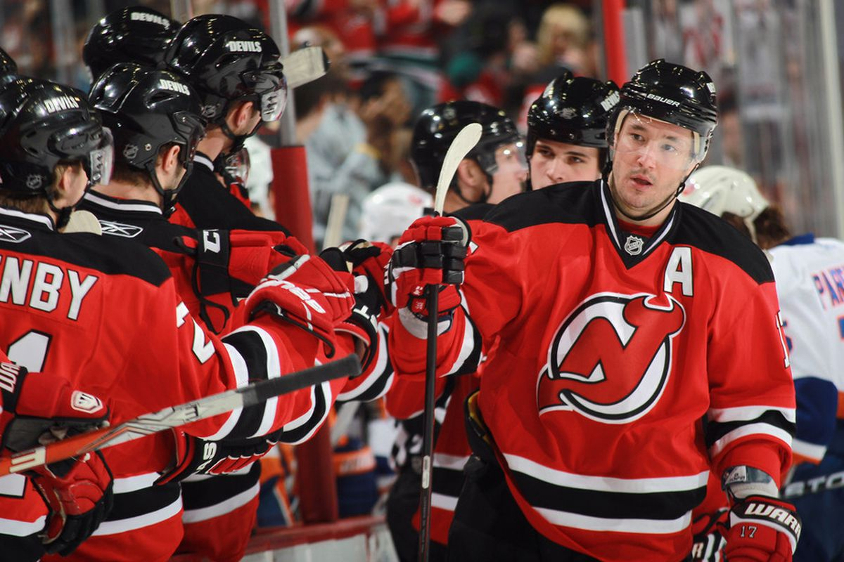 Is this fist-bumping man a franchise player on the New Jersey Devils?  I argue that he isn't - yet.  (Photo by Bruce Bennett/Getty Images)
