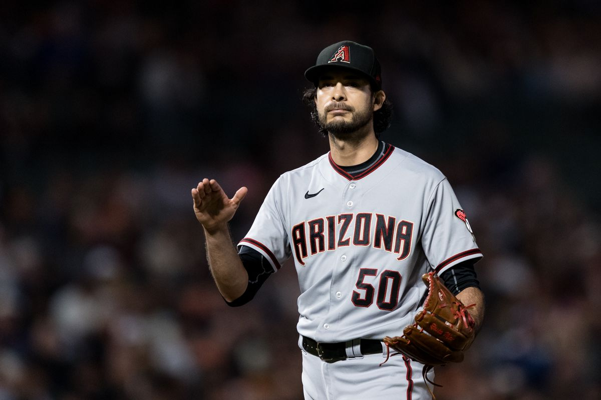 Arizona Diamondbacks relief pitcher Noe Ramirez (50) reacts after the end of the seventh inning of the game against the San Francisco Giants at Oracle Park