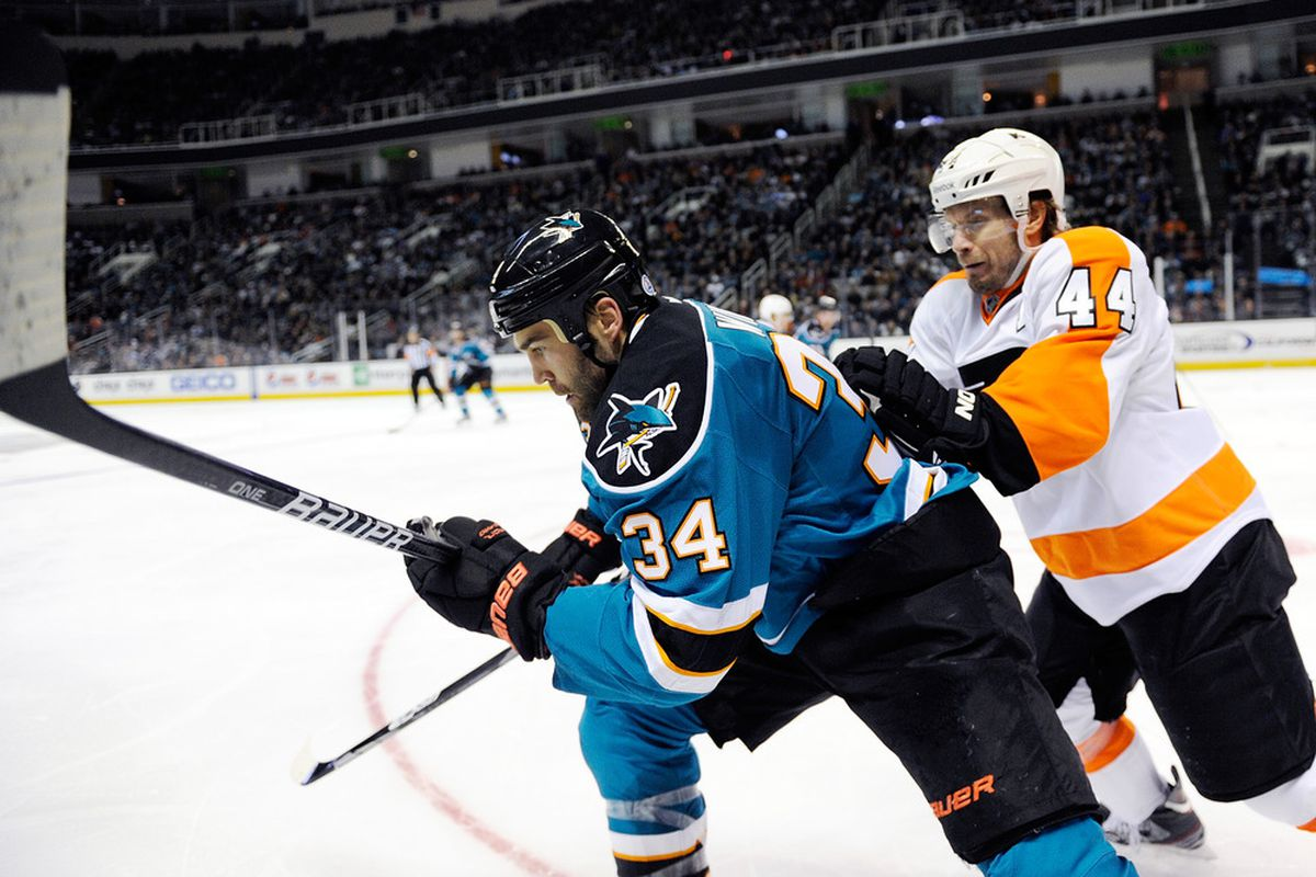 SAN JOSE, CA - FEBRUARY 28:  Kimmo Timonen #44 of the Philadelphia Flyers collides with Daniel Winnik #34 of the San Jose Sharks at HP Pavilion at San Jose on February 28, 2012 in San Jose, California.  (Photo by Thearon W. Henderson/Getty Images)