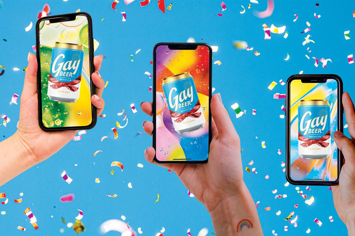 Illustration of three smartphones held up with Gay Beer on each of the screens; confetti falls in the background.