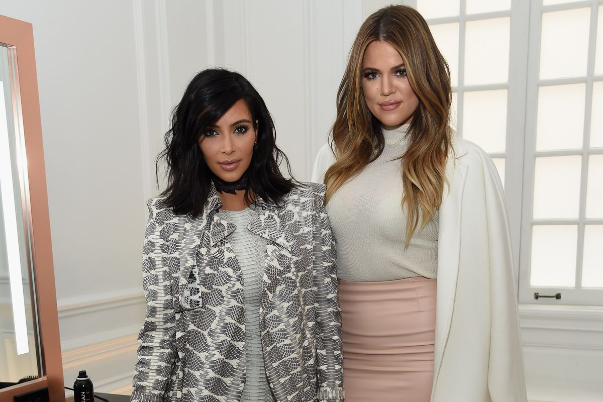 Kim and Khloe promoting their beauty line in New York. Photo: Getty.