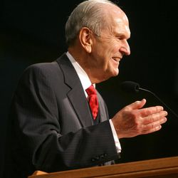 Elder Russell M. Nelson speaks during the Christmas Morning Devotional at the Missionary Training Center in Provo on Tuesday, Dec. 25, 2012.