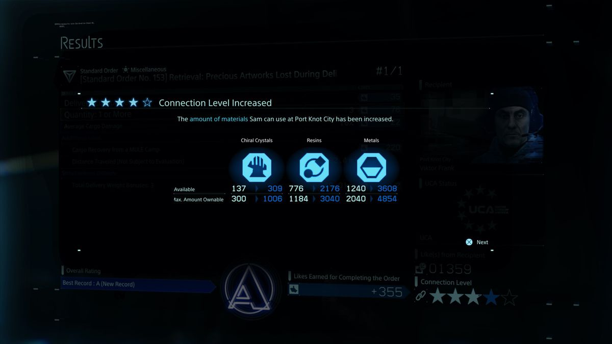 The amount of materials available increases in Death Stranding.