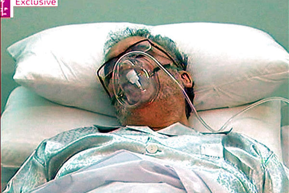 Released Lockerbie bomber Abdel Baset al-Megrahi, is seen in a hospital bed in Tripoli Sunday in this image taken from TV from  footage by Britain's Channel 4 News.