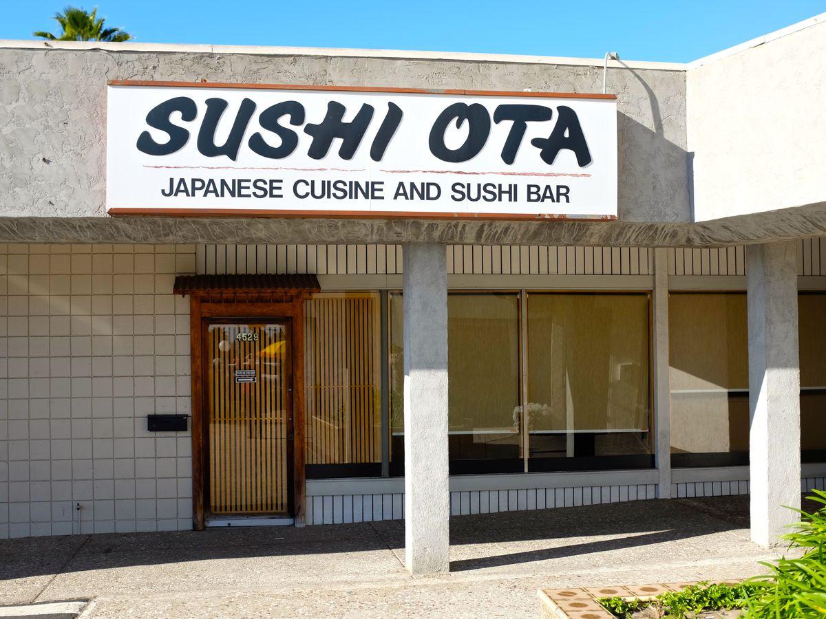 Sushi Ota sign and storefront.