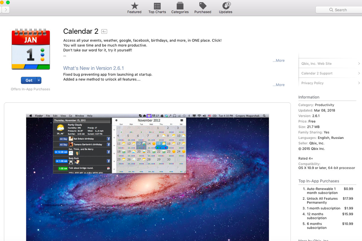Apple Pulls Calendar 2 from Mac App Store for Violating Guidlines