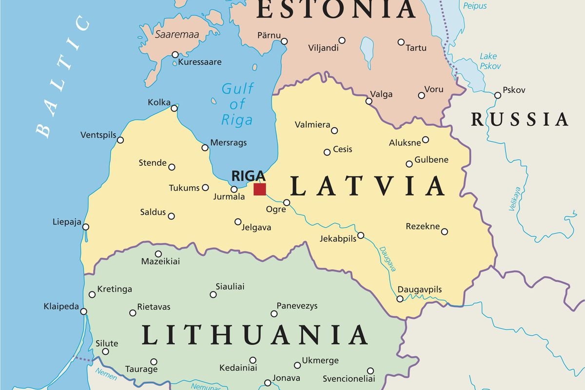 Map of the Baltic states.