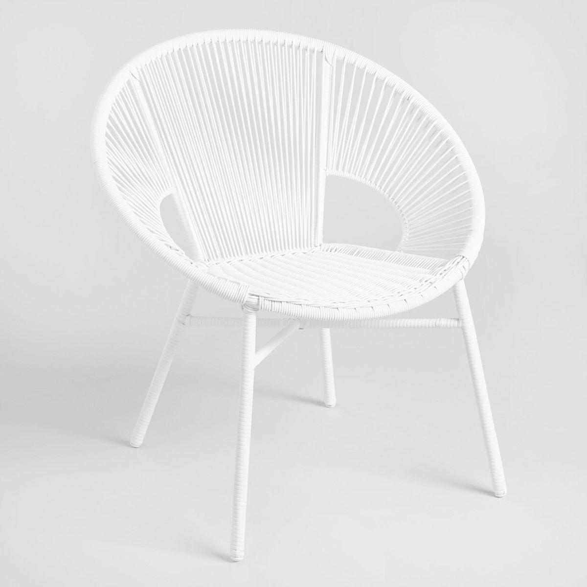 Round white outdoor chair.