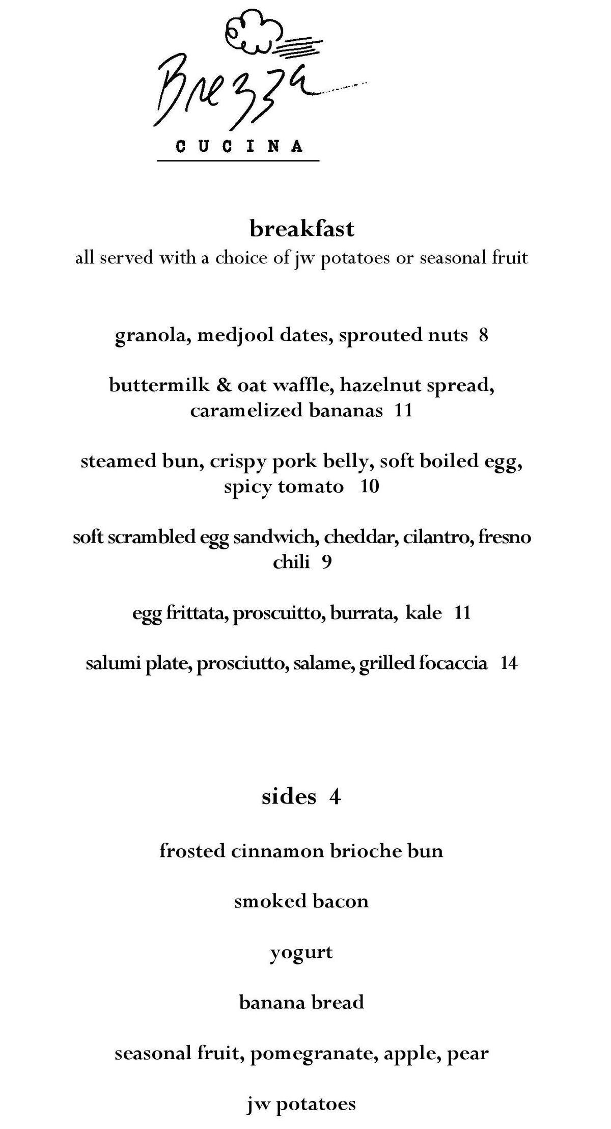 Brezza Cucina breakfast menu