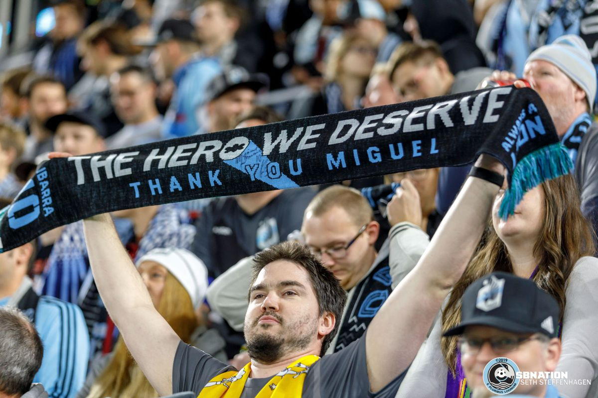 October 20, 2019 - Saint Paul, Minnesota, United States - A supporter in the Wonderwall holds up a Miguel Ibarra scarf prior to kickoff of the Minnesota United vs LA Galaxy first round playoff match at Allianz Field.