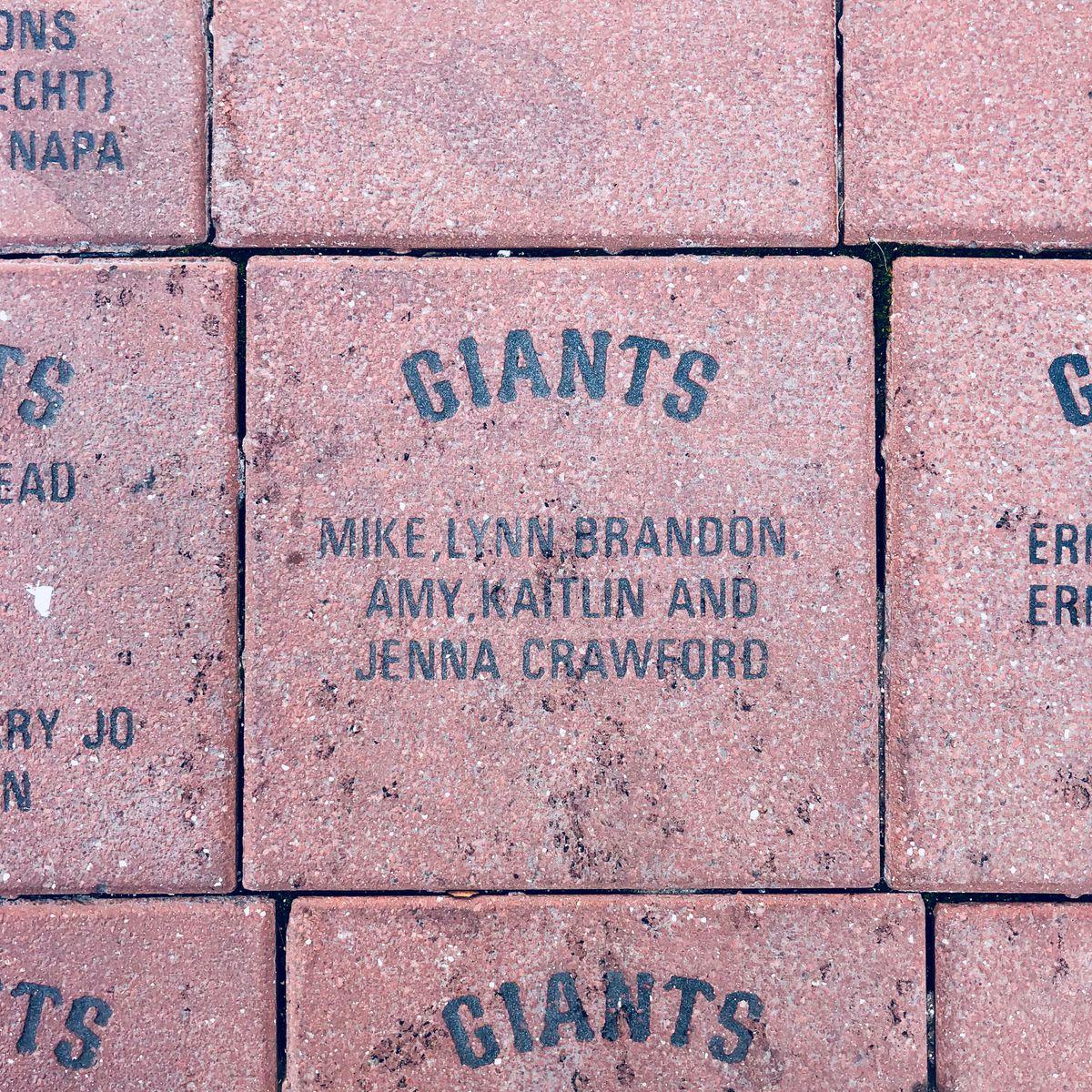 A commemorative brick at Oracle Park.
