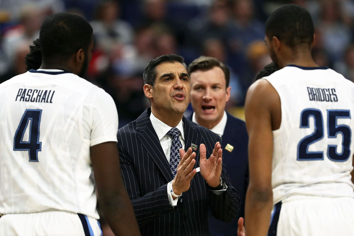 Jay Wright, Eric Paschall, and Mikal Bridges