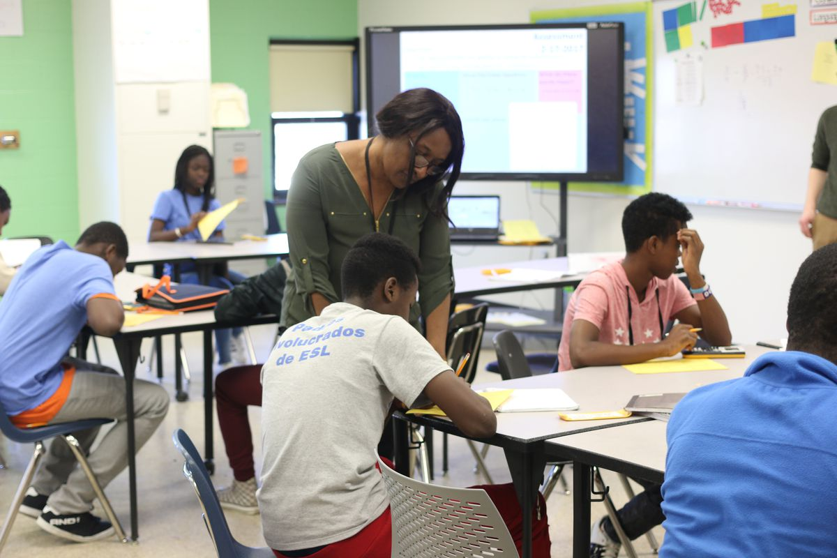 Charlotte Uwimbabazi is a bilingual assistant at the Indianapolis Public Schools newcomer program.