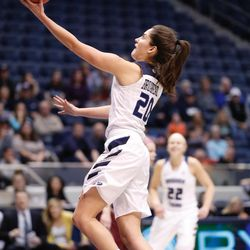 BYU's Cassie Broadhead goes in for a layup in the Cougars' double overtime win, 72-66, over Santa Clara on Thursday, Jan. 26, 2017, at the Marriott Center in Provo.