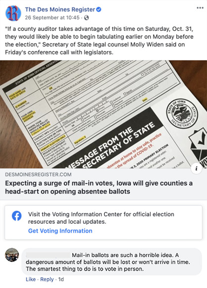 "Des Moines Register article posted on Facebook with a comment reading ""Mail-in ballots are such a horrible idea. A dangerous amount of ballots will be lost or won't arrive in time. The smartest thing to do is to vote in person."""