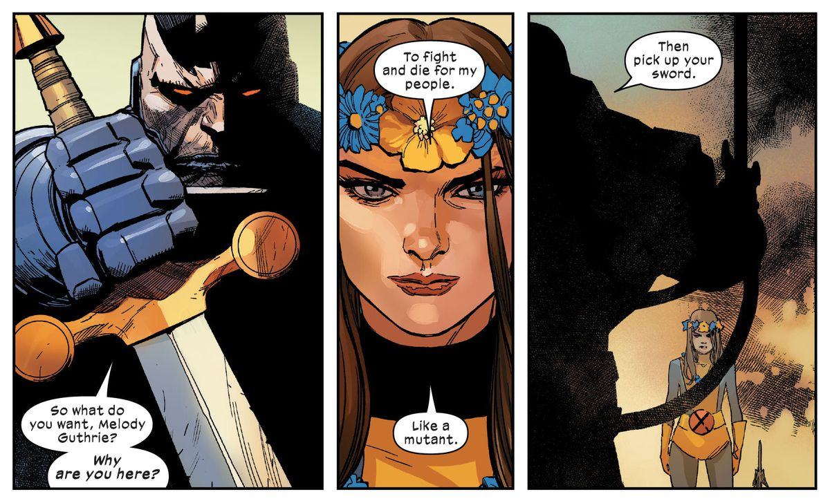 """Melody Guthrie/Aero faces Apocalypse in Crucible. """"Why are you here?"""" he asks. """"To fight and die for my people,"""" she answers, """"Like a mutant."""" """"Then pick up your sword,"""" he responds, in X-Men #7, Marvel Comics (2020)."""
