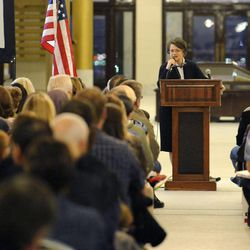 Sen. Margaret Dayton, R-Orem, addresses a crowd during the Utahns Against Common Core rally Tuesday, Feb. 18, 2014, at the state Capitol.