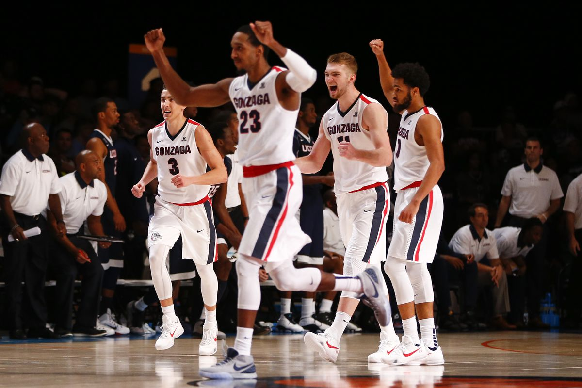 Gonzaga players celebrate during their game agianst Connecticut.